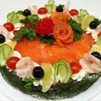 Slaný dort z darů moře